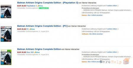 Batman: Arkham Origins Complete Edition помічений на Amazon Germany