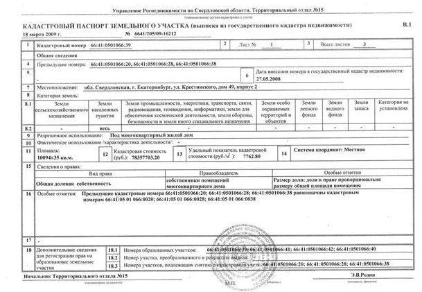 Кадастровий паспорт - приклад
