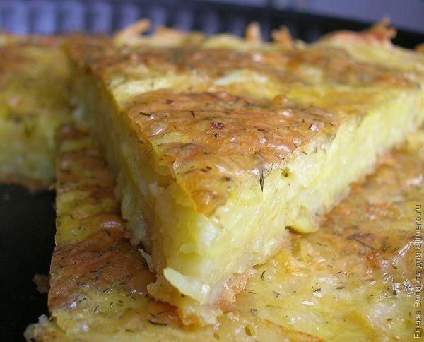 Запіканка з тертої картоплі з сиром і часником